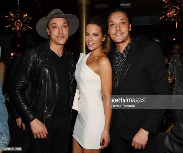 Jonnie Houston actress Kate Beckinsale and Mark Houston attend the grand opening celebration of On The Record Speakeasy and Club at Park MGM on...