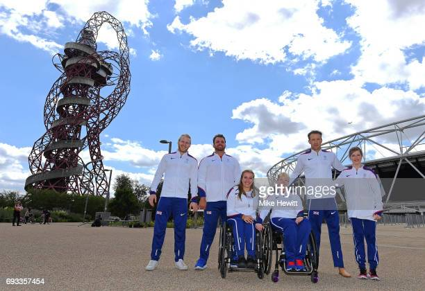 Jonnie Peacock Aled Davies Hannah Cockroft Jo Butterfield Richard Whitehead and Sopie Hahn pose during the announcement of the british athletics team...