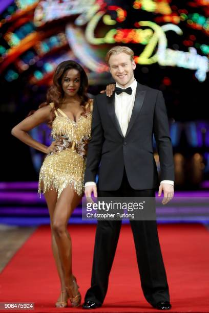 Jonnie Peacock and Oti Mabuse attend the 'Strictly Come Dancing' Live photocall at Arena Birmingham on January 18 2018 in Birmingham England Ahead of...
