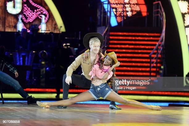 Jonnie Peacock and Oti Mabuse attend the 'Strictly Come Dancing' Live dress rehearsal at Arena Birmingham on January 18 2018 in Birmingham England...