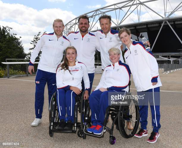 Jonnie Peacock, Hannah Cockroft, Aled Davies, Richard Whitehead, Jo Butterfield and Sopie Hahn pose during the announcement of the british athletics...