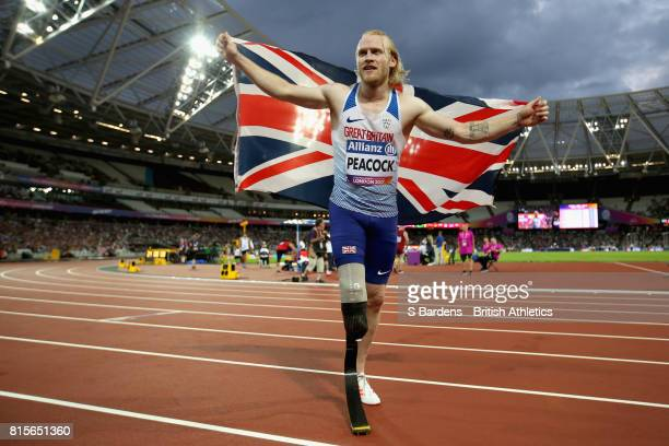 Jonnie Peacock of Great Britain celebrates winning the gold medal in the Men's 100m T44 Final during Day Three of the IPC World ParaAthletics...