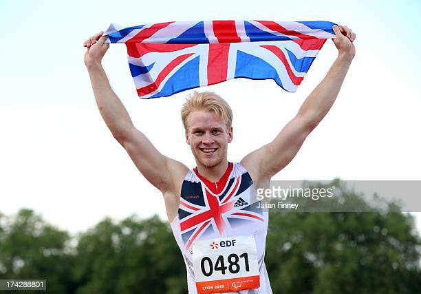 Jonnie Peacock of Great Britain celebrates winning the Men's 100m T44 final during day four of the IPC Athletics World Championships on July 23 2013...