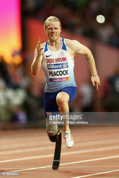 Jonnie Peacock of Great Britain competes in the Men's 100m T44 Final during Day Three of the IPC World ParaAthletics Championships 2017 London at...