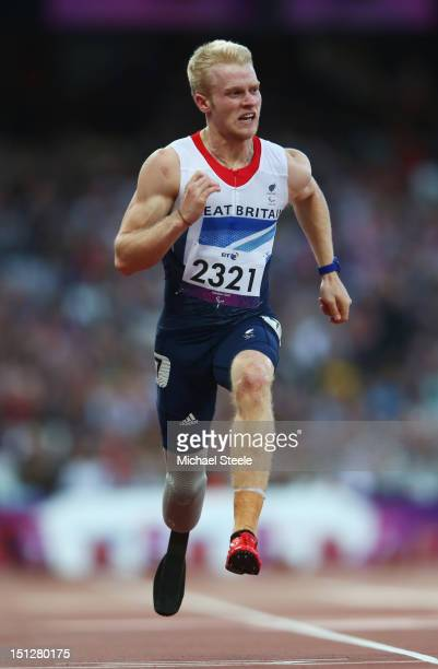Jonnie Peacock of Great Britain competes in the Men's 100m T44 heats on day 7 of the London 2012 Paralympic Games at Olympic Stadium on September 5...