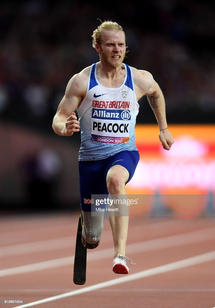 Jonnie Peacock of Great Britain crosses the line to win the Men's 100m T44 Final during day three of the IPC World ParaAthletics Championships 2017 at the London Stadium on July 16, 2017 in London, England.