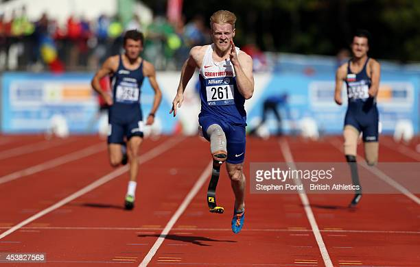 Jonnie Peacock of Great Britain wins the Men's 100m T44 event during day one of the IPC Athletics European Championships at Swansea University Sports...