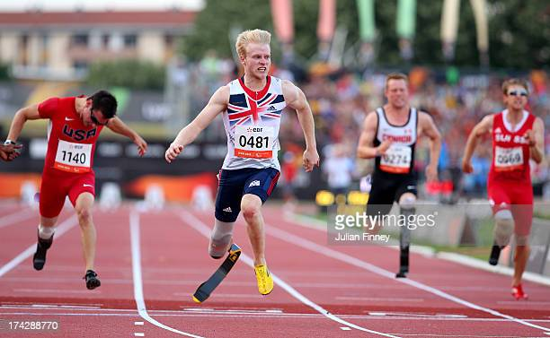 Jonnie Peacock of Great Britain wins the Men's 100m T44 final during day four of the IPC Athletics World Championships on July 23 2013 in Lyon France
