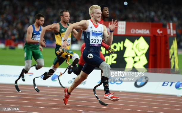 Jonnie Peacock of Great Britain wins the Men's 100m T44 final on Day 8 of the London 2012 Paralympic Games at the Olympic Stadium on September 6 2012...