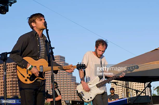 AUSTIN UNITED STATES MARCH 19 Jonnie Russell playing a Gibson L6S guitar and Matt Maust of Cold War Kids performs on stage at the Auditorium Shore's...