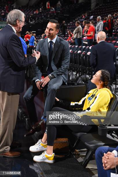 Jonnie West and Michelle Wie attend Game Three of the Western Conference Finals between the Golden State Warriors and the Portland Trail Blazers on...