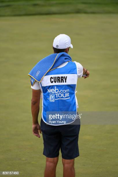 Jonnie West wears Stephen Curry's caddy bib during the first round of the Webcom Tour Ellie Mae Classic at TPC Stonebrae on August 3 2017 in Hayward...
