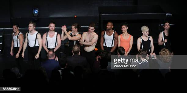 Jonno Davies center with the cast during the opening night curtain call for 'A Clockwork Orange' at the New World Stages on September 25 2017 in New...