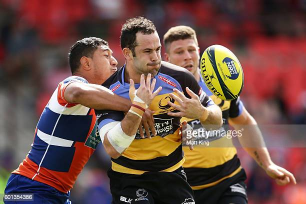 Jonno Lance of the Spirit fumbles the ball during the round three NRC match between the Western Sydney Rams and the Perth Spirit at Concord Oval on...