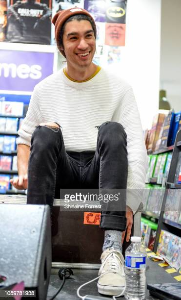 Jonno Panichi of Stand Atlantic performs live and signs copies of their new album 'Skinny Dipping' during an in store session at HMV Manchester on...