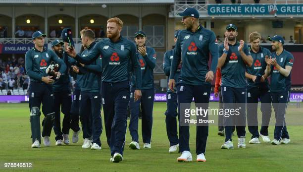 Jonny Bairstow and Alex Hales lead England from the field after England won the third Royal London OneDay International match between England and...