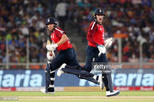 Jonny Bairstow and Jason Roy of England run between the wickets during the 2nd T20 International match between India and England at Narendra Modi...