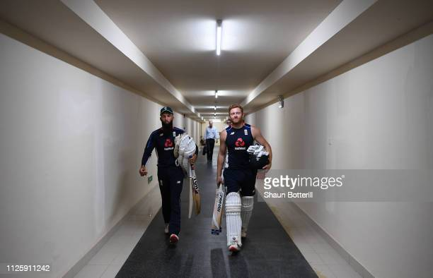 Jonny Bairstow and Moeen Ali of England head out to Net Practice at Sir Vivian Richards Stadium on January 29 2019 in St John's Antigua