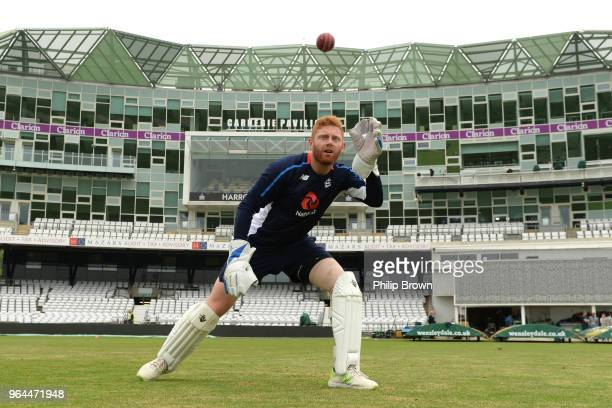 Jonny Bairstow catches a ball during a training session before the 2nd Natwest Test match between England and Pakistan at Headingley cricket ground...