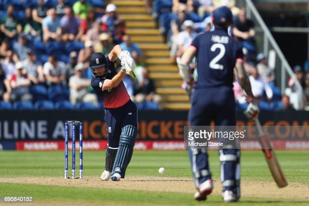 Jonny Bairstow hits a straight drive to the boundary off the bowling of Rumman Raees of Pakistan during the ICC Champions Trophy SemiFinal match...