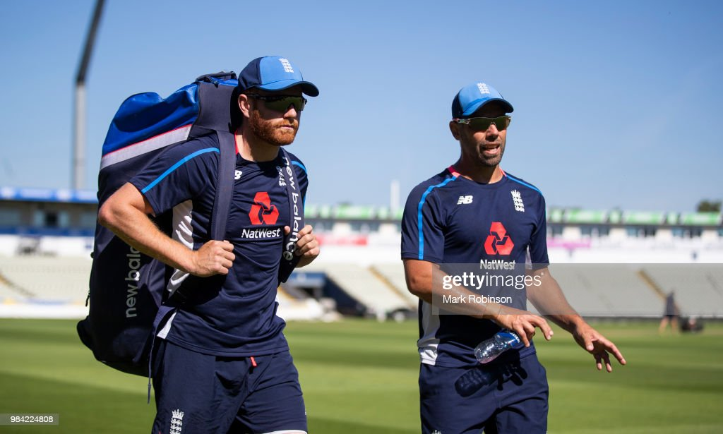 Jonny Bairstow of England and fielding coach Carl Hopkinson during a nets session at Edgbaston on June 26, 2018 in Birmingham, England.