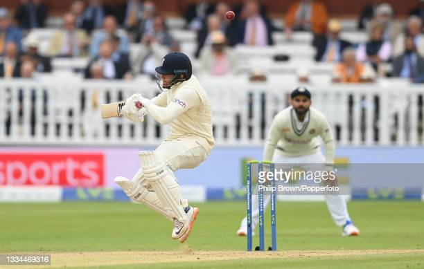Jonny Bairstow of England avoids a bouncer as Virat Kohli of India Looks on during the fifth day of the 2nd LV= Test Match between England and India...