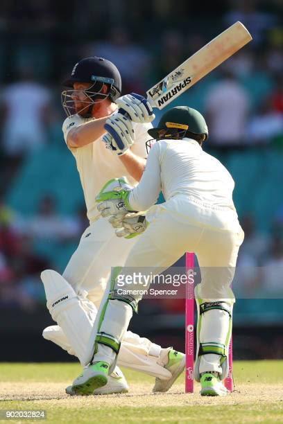 Jonny Bairstow of England bats during day four of the Fifth Test match in the 2017/18 Ashes Series between Australia and England at Sydney Cricket...