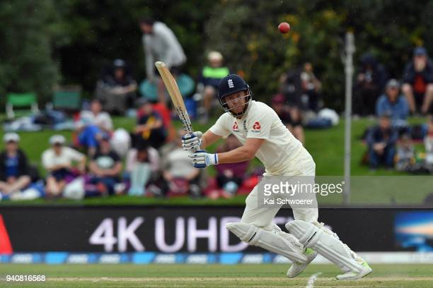 Jonny Bairstow of England bats during day four of the Second Test match between New Zealand and England at Hagley Oval on April 2 2018 in...