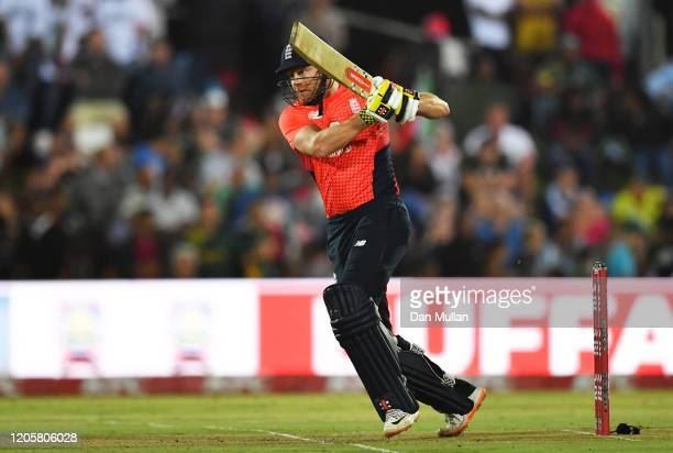Jonny Bairstow of England bats during the First T20 International match between South Africa and England at Buffalo Park on February 12 2020 in East...