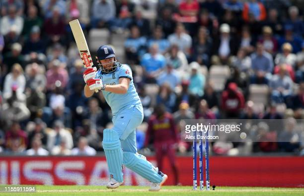Jonny Bairstow of England bats during the Group Stage match of the ICC Cricket World Cup 2019 between England and West Indies at The Hampshire Bowl...