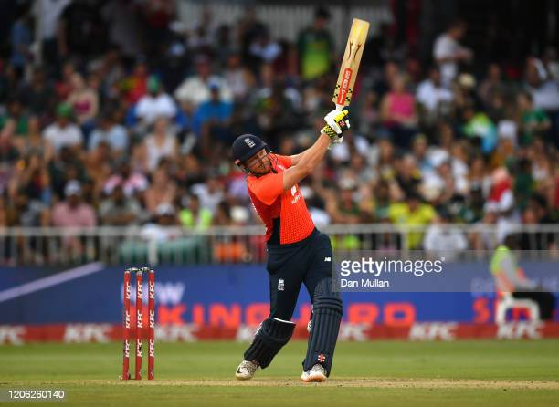 Jonny Bairstow of England bats during the Second T20 International match between England and South Africa at Kingsmead Stadium on February 14 2020 in...