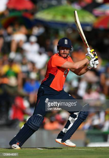 Jonny Bairstow of England bats during the Third T20 International match between South Africa and England at Supersport Park on February 16 2020 in...