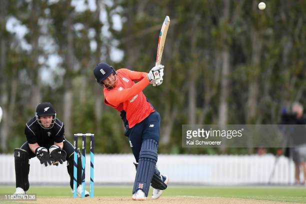 Jonny Bairstow of England bats during the Twenty20 International Tour match between the New Zealand XI and England on October 27, 2019 in Lincoln,...