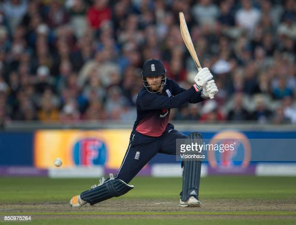Jonny Bairstow of England batting during the Royal London One Day International between England and the West Indies at Old Trafford on September 19...