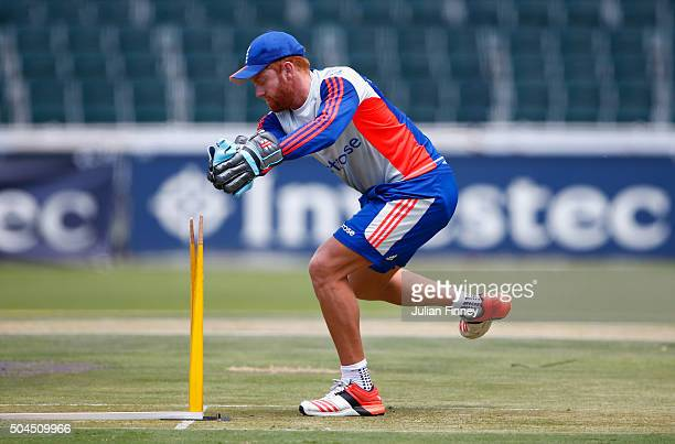 Jonny Bairstow of England catches in a practice session during England media access at the Wanderers Stadium on January 11 2016 in Johannesburg South...