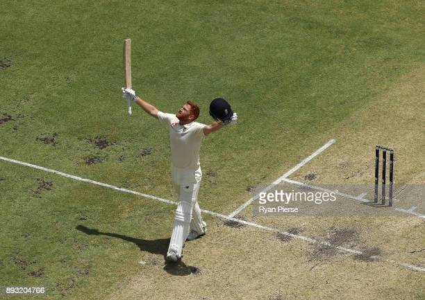 Jonny Bairstow of England celebrates after reaching his century during day two of the Third Test match during the 2017/18 Ashes Series between...