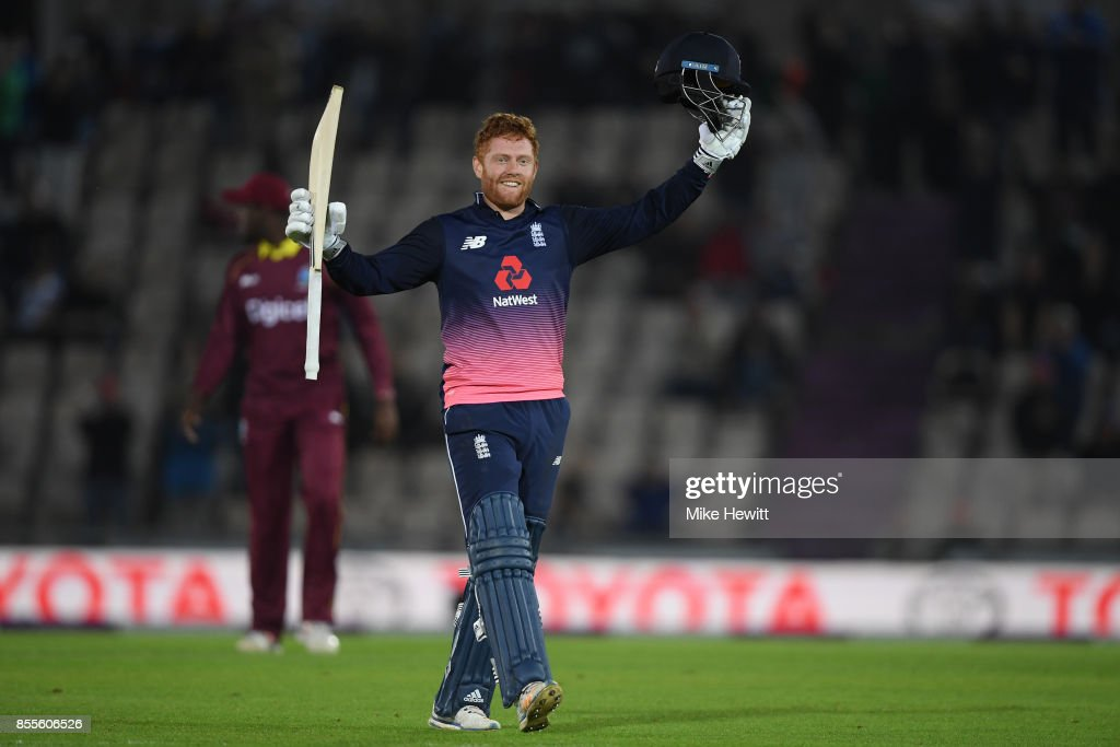 Jonny Bairstow of England celebrates his 100 during the 5th Royal London One Day International between England and West Indies at Ageas Bowl on September 29, 2017 in Southampton, England.
