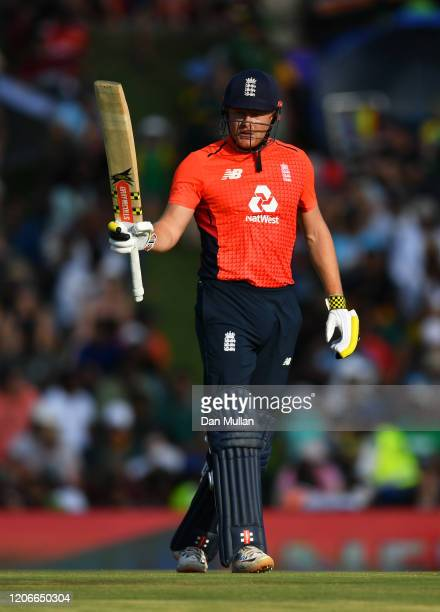 Jonny Bairstow of England celebrates his 50 during the Third T20 International match between South Africa and England at Supersport Park on February...