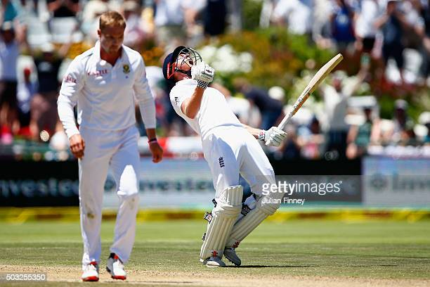 Jonny Bairstow of England celebrates his century during day two of the 2nd Test at Newlands Stadium on January 3 2016 in Cape Town South Africa