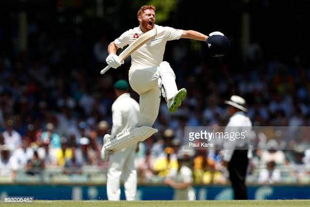 Jonny Bairstow of England celebrates his century during day two of the Third Test match during the 2017/18 Ashes Series between Australia and England...