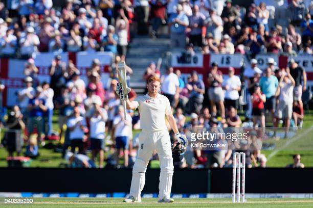 Jonny Bairstow of England celebrates his century during day two of the Second Test match between New Zealand and England at Hagley Oval on March 31...