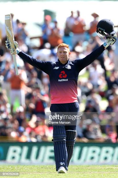 Jonny Bairstow of England celebrates his century during game four of the One Day International series between New Zealand and England at University...