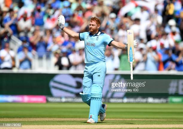 Jonny Bairstow of England celebrates his century during the Group Stage match of the ICC Cricket World Cup 2019 between England and India at...