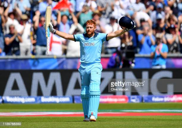 Jonny Bairstow of England celebrates his century during the Group Stage match of the ICC Cricket World Cup 2019 between England and New Zealand at...