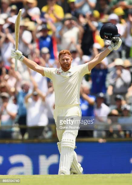 Jonny Bairstow of England celebrates making a century during day two of the Third Test match during the 2017/18 Ashes Series between Australia and...