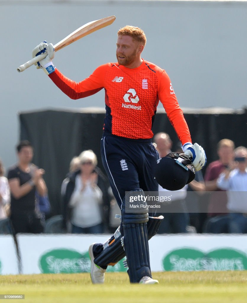 Jonny Bairstow of England celebrates reaching 100 runs during the One Day International match between Scotland and England at The Grange on June 10, 2018 in Edinburgh, Scotland.