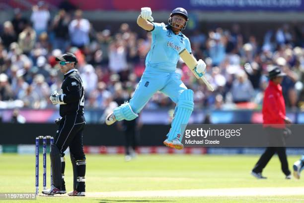 Jonny Bairstow of England celebrates reaching his century during the Group Stage match of the ICC Cricket World Cup 2019 between England and New...