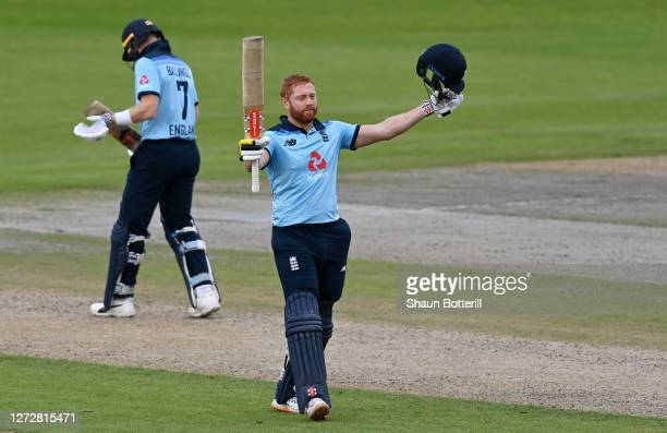 Jonny Bairstow of England celebrates reaching his century during the 3rd Royal London One Day International Series match between England and...