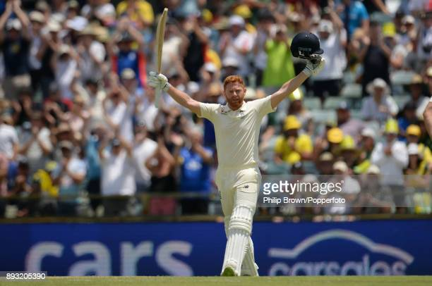Jonny Bairstow of England celebrates reaching his century during the second day of the third Ashes cricket test match between Australia and England...