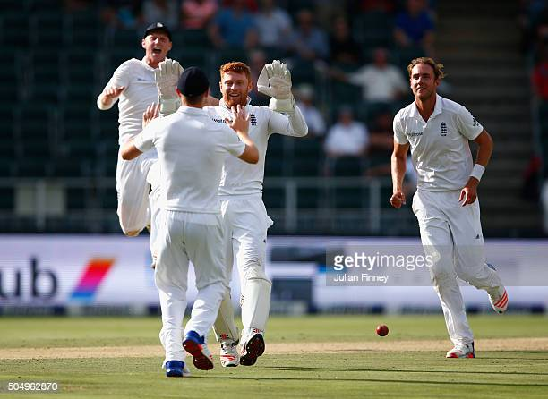 Jonny Bairstow of England celebrates running out Temba Bavuma of South Africa from Chris Woakes's fielding off Stuart Broad of England's bowling...